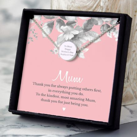 Mum Sentiment Silver Tone Necklace and Box
